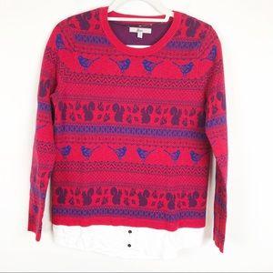 Bass Fair Isle Animal Print Red Sweater Size Small